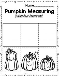Pumpkin Math Halloween Preschool Worksheets Pumpkin Measuring