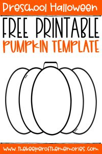 Pumpkin Template with text: Preschool Halloween Free Printable Pumpkin Template