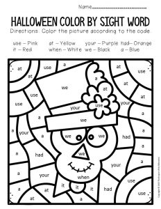 Skeleton Color by Sight Word Halloween Kindergarten Worksheets