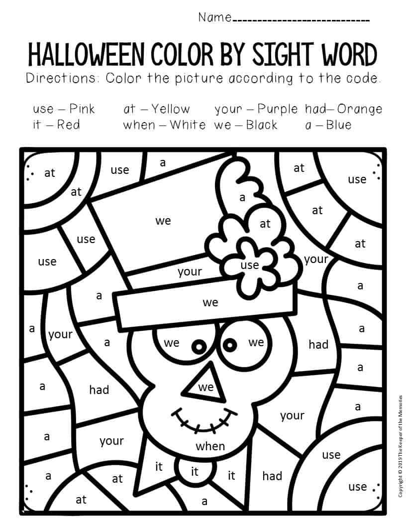 Skeleton Color by Sight Word Halloween Kindergarten ...