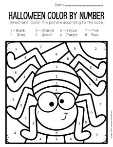 Spider Color by Number Halloween Preschool Worksheets