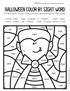 Vampire Color by Sight Word Halloween Kindergarten Worksheets