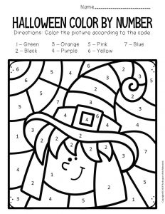Witch Color by Number Halloween Preschool Worksheets