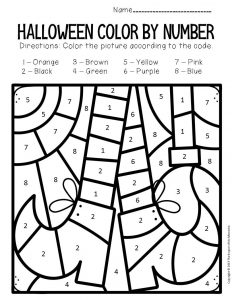 Witch's Feet Color by Number Halloween Preschool Worksheets