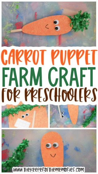 collage of carrot puppet images with text: Carrot Puppet Farm Craft for Preschoolers
