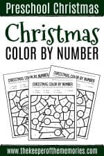 Color by Number Christmas Preschool Worksheets