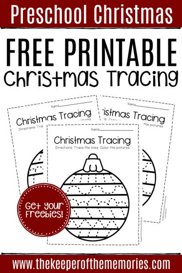 Free Printable Tracing Christmas Preschool Worksheets with text: Preschool Christmas Free Printable Christmas Tracing Get Your Freebies!