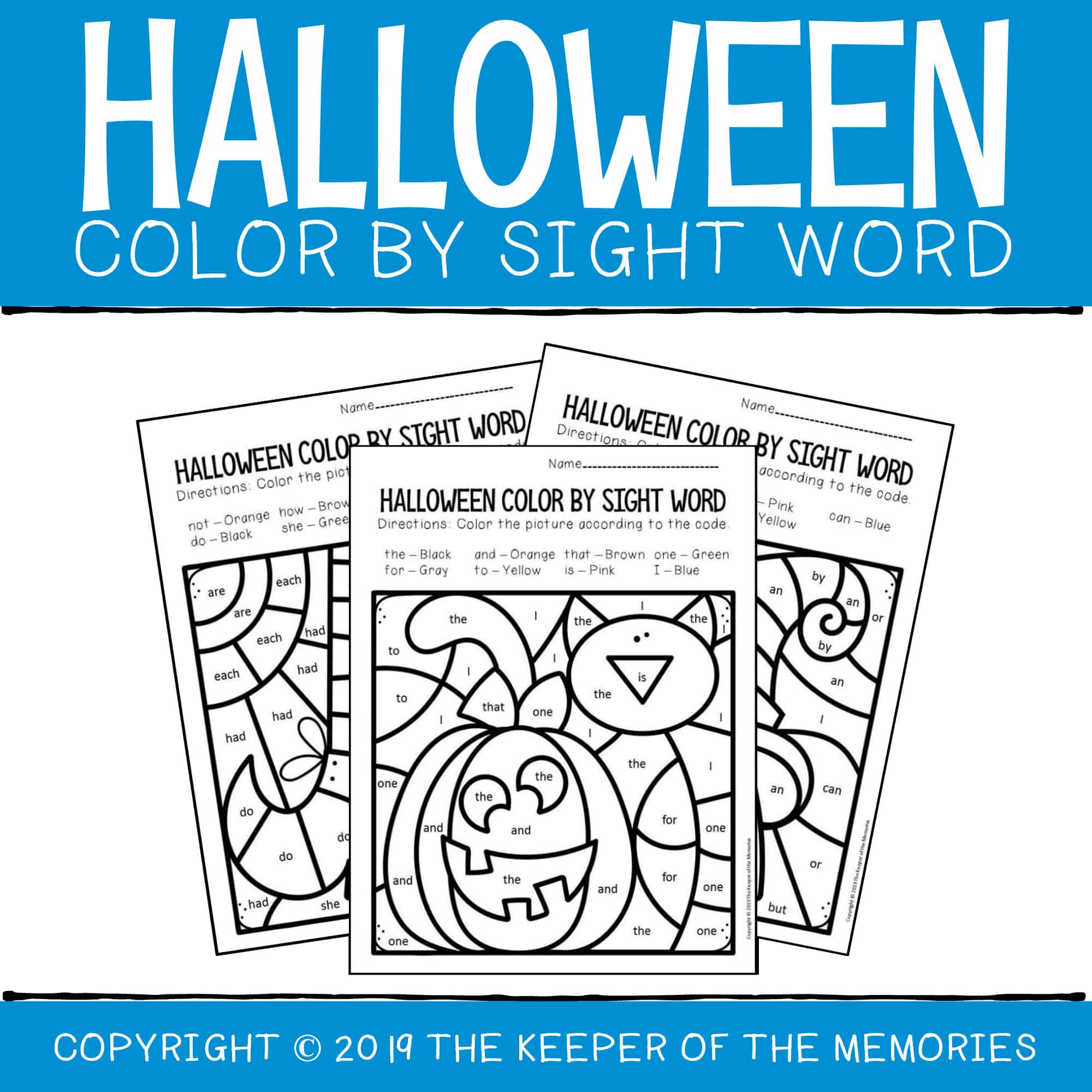 Color By Sight Word Halloween Coloring Pages - The Keeper ...