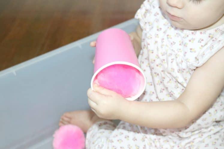 pink pompom inside pink cup