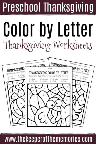 Color by Letter Thanksgiving Preschool Worksheets