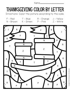 Color by Letter Thanksgiving Preschool Worksheets Mayflower