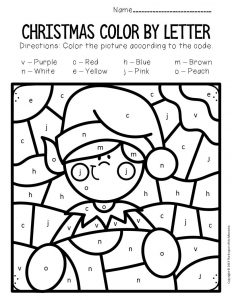 Color by Lowercase Letter Christmas Preschool Worksheets Elf