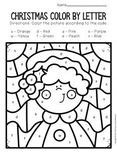 Color by Lowercase Letter Christmas Preschool Worksheets Mrs Claus