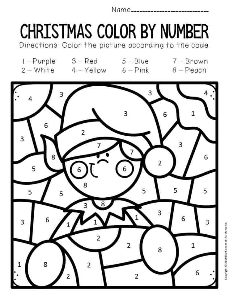 Color by Number Christmas Preschool Worksheets Elf - The ...