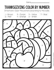 Color by Number Thanksgiving Preschool Worksheets Cornucopia