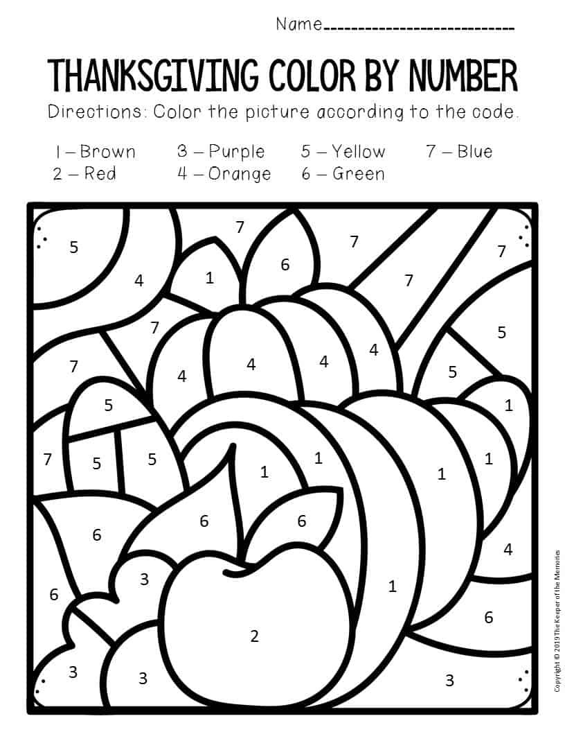 Color by Number Thanksgiving Preschool Worksheets ...