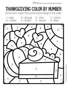 Color by Number Thanksgiving Preschool Worksheets Pumpkin Pie