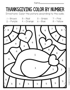 Color by Number Thanksgiving Preschool Worksheets Turkey Dinner