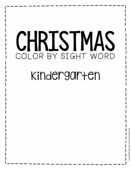 Color by Sight Word Christmas Kindergarten Worksheets