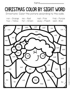 Color by Sight Word Christmas Pre-K Worksheets Mrs Claus