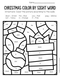 Color by Sight Word Christmas Pre-K Worksheets Ornaments and Present