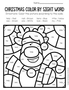 Color by Sight Word Christmas Pre-K Worksheets Rudolph