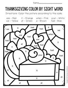Color by Sight Word Thanksgiving Kindergarten Worksheets Pumpkin Pie