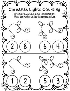 Counting Christmas Preschool Worksheets 1