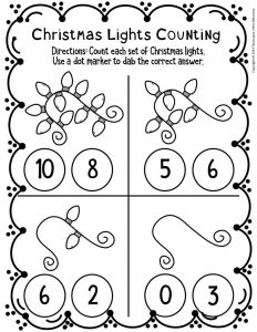 Counting Christmas Preschool Worksheets 2