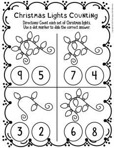 Counting Christmas Preschool Worksheets 3