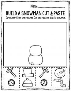 Fine Motor Christmas Preschool Worksheets Build A Snowman Cut & Paste