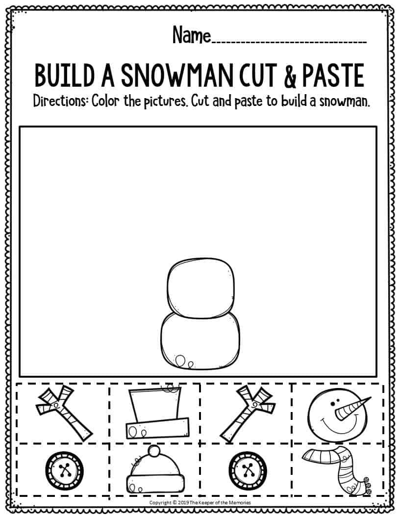 Fine Motor Christmas Preschool Worksheets Build A Snowman ...