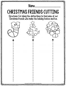 Fine Motor Christmas Preschool Worksheets Christmas Friends Cutting