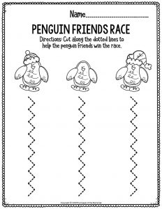 Fine Motor Christmas Preschool Worksheets Penguin Friends Race
