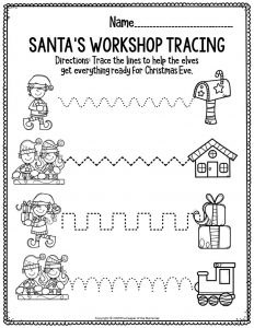 Fine Motor Christmas Preschool Worksheets Santa's Workshop Tracing