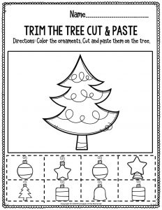 Fine Motor Christmas Preschool Worksheets Trim the Tree Cut & Paste