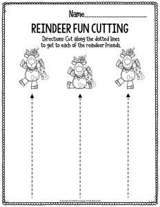 Fine Motor Christmas Preschool Worskheets Reindeer Fun Cutting