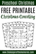 Free Printable Counting Christmas Preschool Worksheets