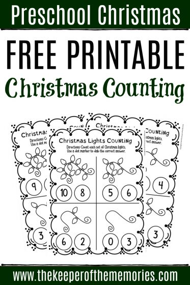 Free Printable Christmas Lights Counting with text: Preschool Christmas Free Printable Christmas Counting