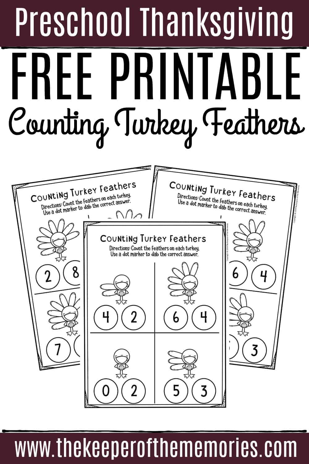 - Free Printable Counting Thanksgiving Preschool Worksheets