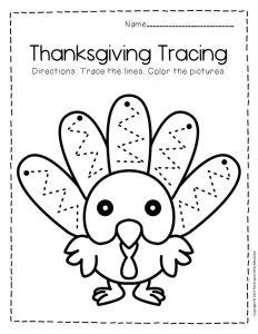 Free Printable Tracing Thanksgiving Preschool Worksheets 1