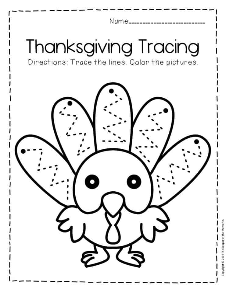 Free Printable Tracing Thanksgiving Preschool Worksheets 1 ...