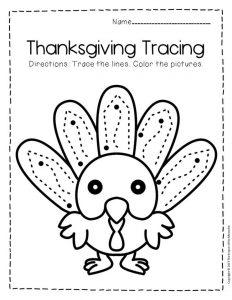 Free Printable Tracing Thanksgiving Preschool Worksheets 2