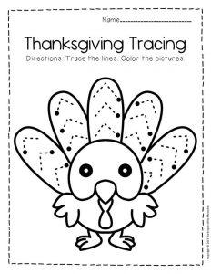 Free Printable Tracing Thanksgiving Preschool Worksheets 3