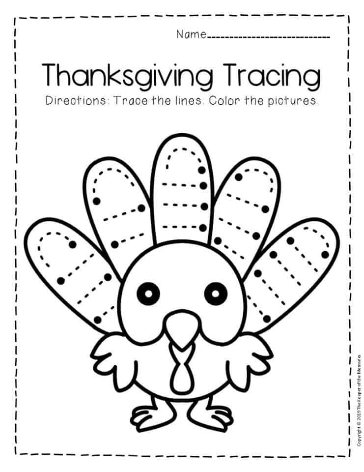 Free Printable Tracing Thanksgiving Preschool Worksheets 4 ...