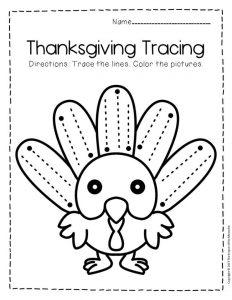 Free Printable Tracing Thanksgiving Preschool Worksheets 5