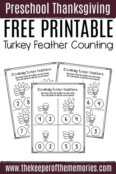 Free Printable Turkey Feather Counting