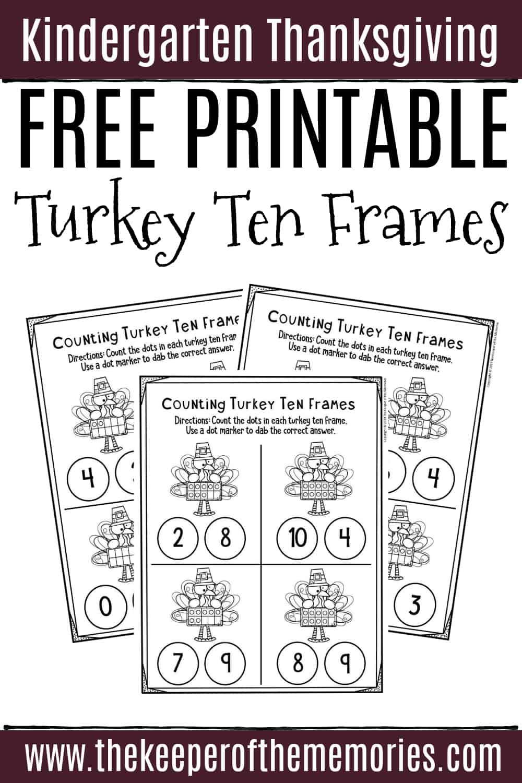 Free Printable Turkey Ten Frames Kindergarten Worksheets