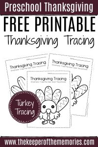 Free Printable Turkey Tracing Preschool Worksheets
