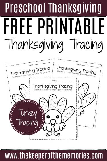 Free Printable Turkey Tracing Preschool Worksheets with text: Preschool Thanksgiving Free Printable Thanksgiving Tracing Turkey Tracing